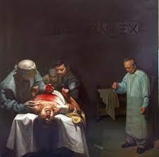 'Tội ác mổ cắp nội tạng', tranh sơn dầu mô tả cảnh mổ lấy nội tạng sống từ học viên Pháp Luân Công tại Trung Quốc. Xiqiang Dong là tác giả bức tranh. (Trung Quốc đàn áp Pháp Luân Công - Sự thật đang dần sáng tỏ)